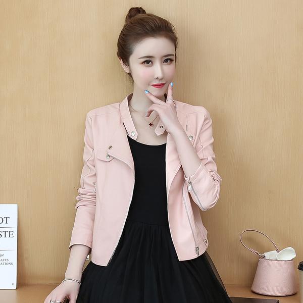 VK旗艦店 韓系機車短款修身皮夾克顯瘦單品皮外套