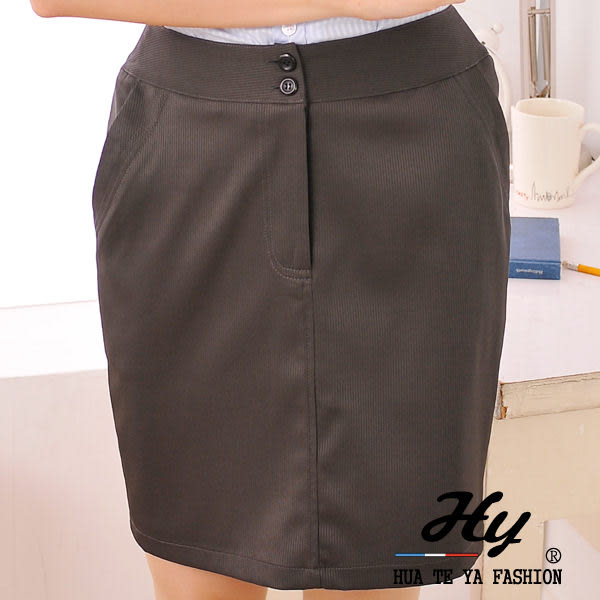 【HTY-22E-S】華特雅-都會新潮OL辦公室女窄裙(鐵灰色暗紋)