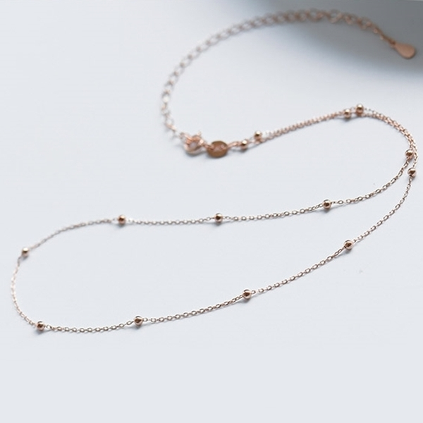 316L醫療鋼 小圓珠相間 鎖骨項鍊-金、銀、玫瑰金 防抗過敏 不退色