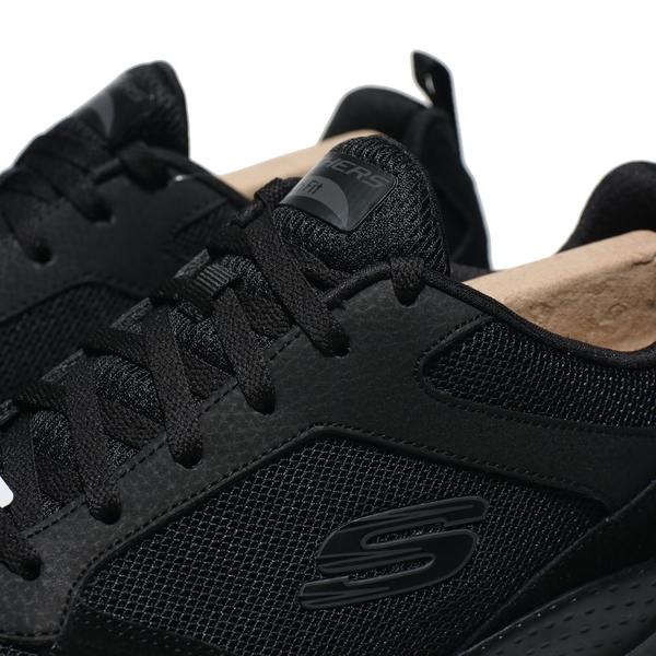 SKECHERS 慢跑鞋 ARCH FIT 全黑 網布 麂皮拼接 綁帶 男 (布魯克林) 232101BBK