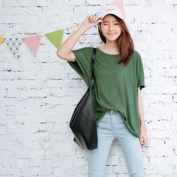 OB嚴選《AB3523-》質感素色高含棉寬鬆連袖上衣.3色  --適 M~XL