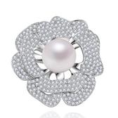 胸針 純銀鍍白金珍珠-鑲鑽花朵生日情人節禮物女胸花73cw51【時尚巴黎】