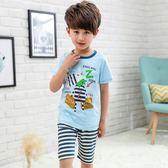 【全館】現折200夏季新款男童卡通家居服短袖T恤短褲兩件套男孩兒童睡衣套裝