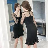 VK精品服飾 韓國風時尚魚尾氣質網紗拼接性感V領包臀長袖洋裝