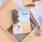 小清新密碼本子帶鎖日記本韓國創意彩頁記事本筆記本女學生手賬本【快速出貨全館八折】