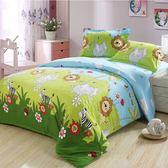 ☆單人薄床包雙人薄被套☆100%精梳純棉3.5x6.2尺《森林王國》