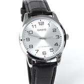 CASIO卡西歐數字銀殼黑色皮革錶NEC138