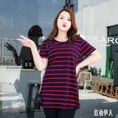 大尺碼上衣 胖MM夏裝寬鬆上衣肥婆短袖T恤休閒大碼尺碼微胖女 LJ2801『紅袖伊人』