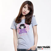BIG TRAIN 夏之葵日式印花圓領T-女-灰色
