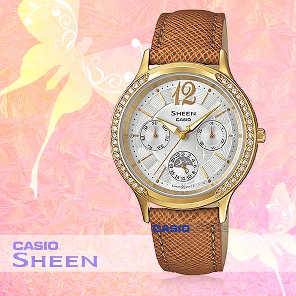 CASIO 卡西歐 手錶專賣店 SHE-3030BGL-7A 女錶 指針錶 不鏽鋼錶帶 防水 三眼 施華洛世奇
