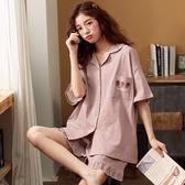 睡衣 女夏純棉短袖開衫薄款時尚女士可外穿家居服兩件套大碼 - 風尚3C