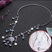 瓔珞項圈 飾品琉璃景泰藍珍珠襦裙漢服配飾古裝古典飾品 - 雙十一熱銷