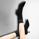 瘦瘦靴女短靴秋冬針織襪子中筒字母尖頭細跟加絨高跟彈力襪靴