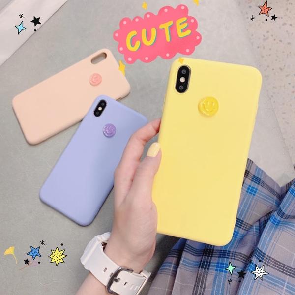 ins笑臉純色硅膠8plus蘋果x手機殼XS Max/XR/適用iPhoneX/7女款6s