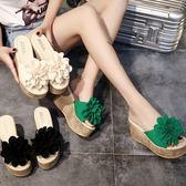 厚底拖鞋 松糕厚底拖鞋一字型高跟時尚外穿坡跟涼拖 巴黎春天