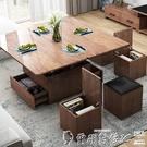 茶幾 火燒石大理石茶幾北歐風格小戶型簡約多功能折疊升降餐桌兩用茶幾LX 爾碩 交換禮物