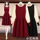 紅色法式修身針織連衣裙女秋冬季2020新款名媛氣質顯瘦打底長裙子 小艾新品