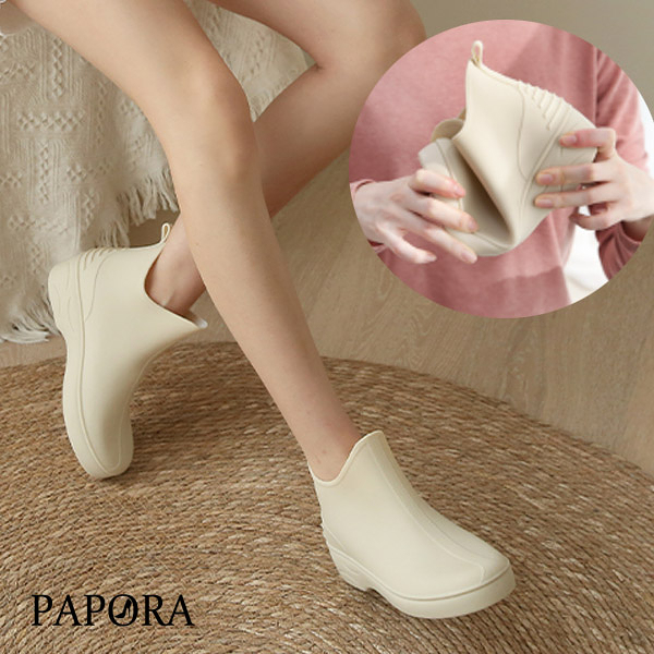 雨鞋防風百搭素面休閒雨鞋KK666米色/黑色PAPORA