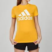 Adidas Essentials 女款 黃色 經典 休閒 短袖 上衣 EB3794