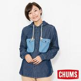 CHUMS 日本 女 CPO 兜帽丹寧襯衫 原味藍 CH121067N030