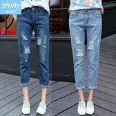 【V1901】shiny藍格子-秋造美型.破洞寬鬆直筒九分牛仔褲