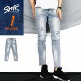 長褲-鐵灰線條補丁牛仔褲-率性刷破款《9999524》灰藍色【現貨】『SMR』
