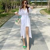 依米迦 洋裝 夏裝新款韓版休閒氣質中長款腰帶收腰開叉襯衫連身裙