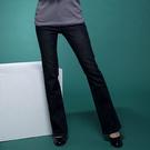 牛仔褲--絕對顯瘦素面側邊車線中腰小喇叭牛仔褲(S-7L)-N31眼圈熊中大尺碼◎