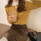 針織外套圓領短款長袖開衫寬鬆氣質毛衣上衣【橘社小鎮】