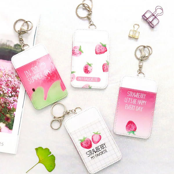 卡套-小清新草莓粉嫩系悠遊卡 信用卡 門禁卡 專用鑰匙圈卡套 (1入) 【AN SHOP】