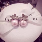歐美時尚飾品粉白灰色珍珠純銀針耳釘女蝴蝶結耳環氣質韓國簡約  年貨慶典 限時鉅惠