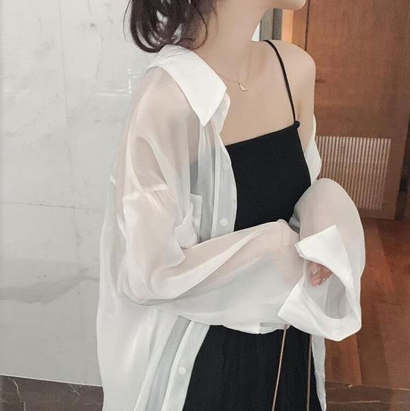 雪紡外套 防曬衣女2021新款夏季仙女長袖雪紡防曬襯衫寬鬆薄款百搭開衫外套 伊蒂斯