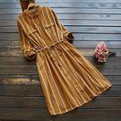 東京奈奈日系森林系棉麻條紋長袖收腰連身裙[j60596]