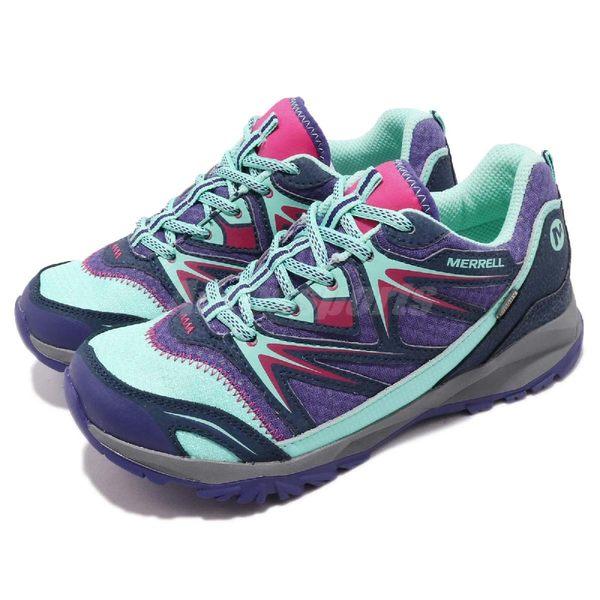 Merrell 戶外鞋 Capra Bolt Low Lace Waterproof 運動鞋 越野 快乾 慢跑 紫 藍 大童鞋 女鞋【PUMP306】 MY56480