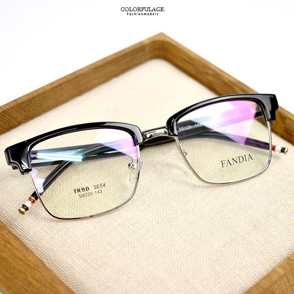 配眼鏡 方形黑眉框特色腳架NYA66