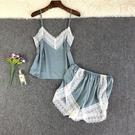 性感睡衣女夏季冰絲吊帶短褲兩件套薄款2021年新款背心套裝家居服錢夫人小舖