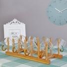 杯架竹制盤架創意小杯掛架瀝水架收納架家用儲物架子家用茶餅架 小明同學