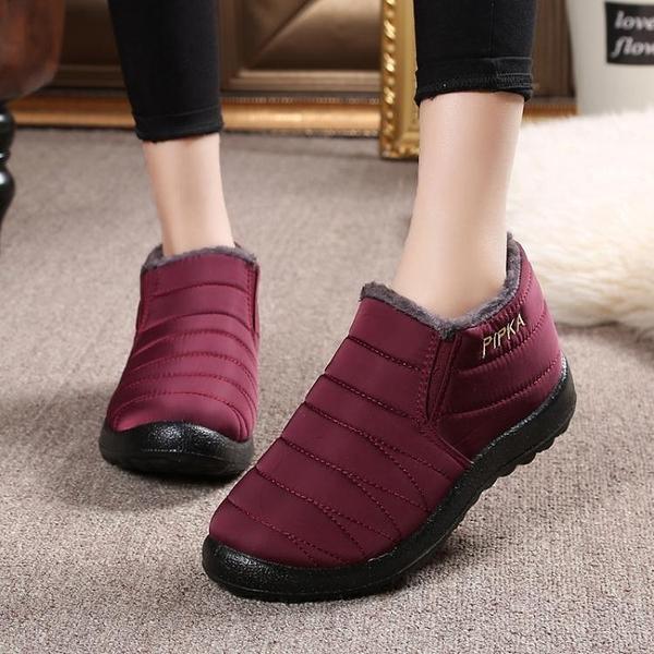 老北京布鞋冬季保暖棉鞋女士防水加絨短靴防滑加厚平底媽媽鞋棉靴 麻吉好貨