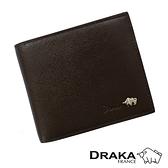 【南紡購物中心】【DRAKA達卡】庫爾真皮系列十字紋短夾-左右翻式證件窗-深咖