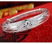 新款純銀手鐲子滿天星推拉開口女手環