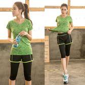 瑜伽運動套裝女大碼跑步速干服胖mm健身房夏裝顯瘦兩件套  ifashion部落