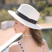 帽子女夏季遮陽帽防曬韓版休閒百搭草帽海邊沙灘帽出游折疊太陽帽