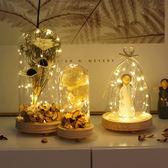 創意帶燈玻璃罩干花天使裝飾品擺件臥室客廳【店慶活動明天結束】