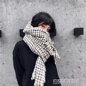 圍巾 復古英倫風仿羊絨百搭兩用長款圍巾女秋冬保暖文藝格紋圍脖披肩男 古梵希