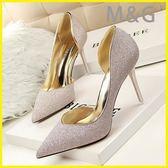 MG 金色高跟鞋銀色小高跟鞋細跟尖頭性感金色單鞋單根百搭女鞋潮