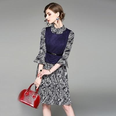 洋裝(兩件套)-喇叭袖圓領印花麂皮絨背心女連身裙73of159【巴黎精品】