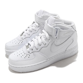 Nike 休閒鞋 Wmns Air Force 1 07 Mid 中筒 全白 女鞋 小白鞋 魔鬼氈【ACS】 DD9625-100