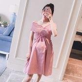 漂亮小媽咪 裸肩洋裝 【D3332】 V領 一字領 露肩 洋裝 格紋 孕婦裝 格子紋 連身裙