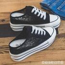 夏季新款蕾絲厚底內增高8cm半拖帆布鞋女韓版無後跟懶人拖鞋