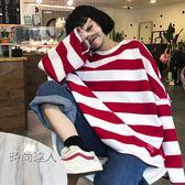 時尚學院風正韓寬鬆休閒條紋T恤上衣女裝正韓學生套頭衛衣熱賣夯款